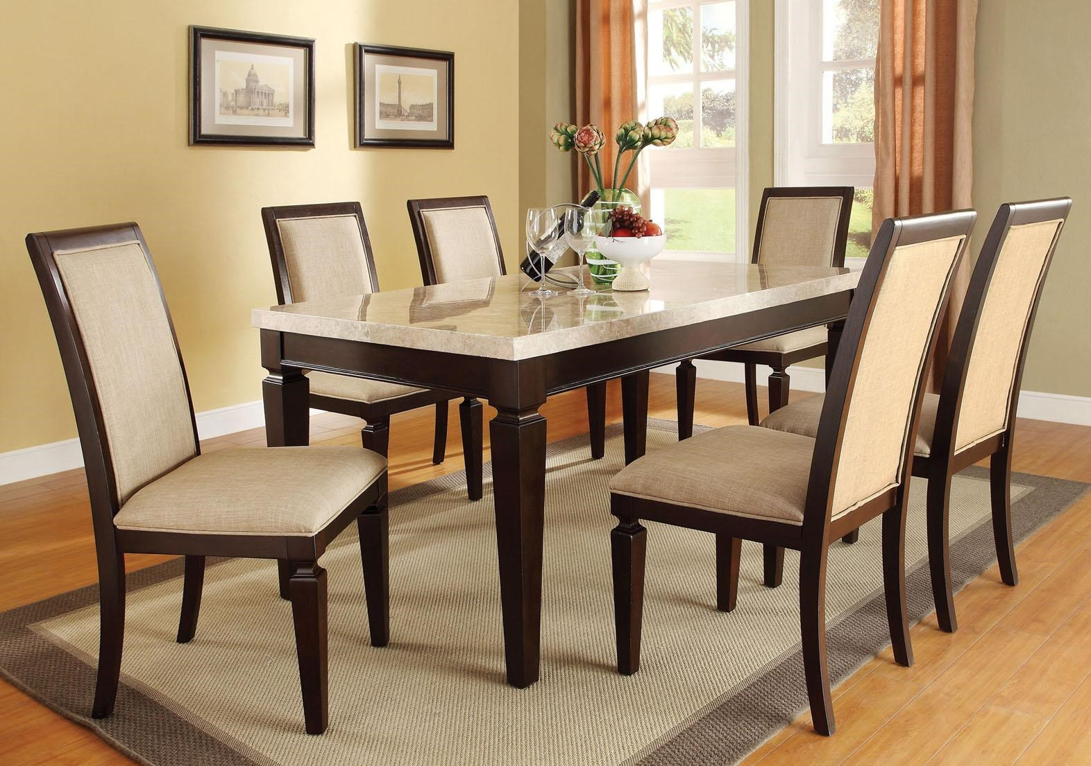 Acme Furniture Agatha Seven Piece Marble Top Table And Upholstered Side  Chair Dining Set