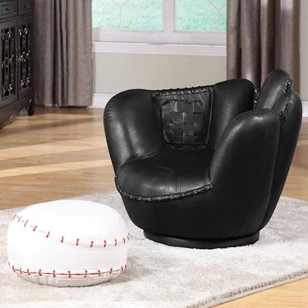Baseball Bk Glove Chair & Ottoman
