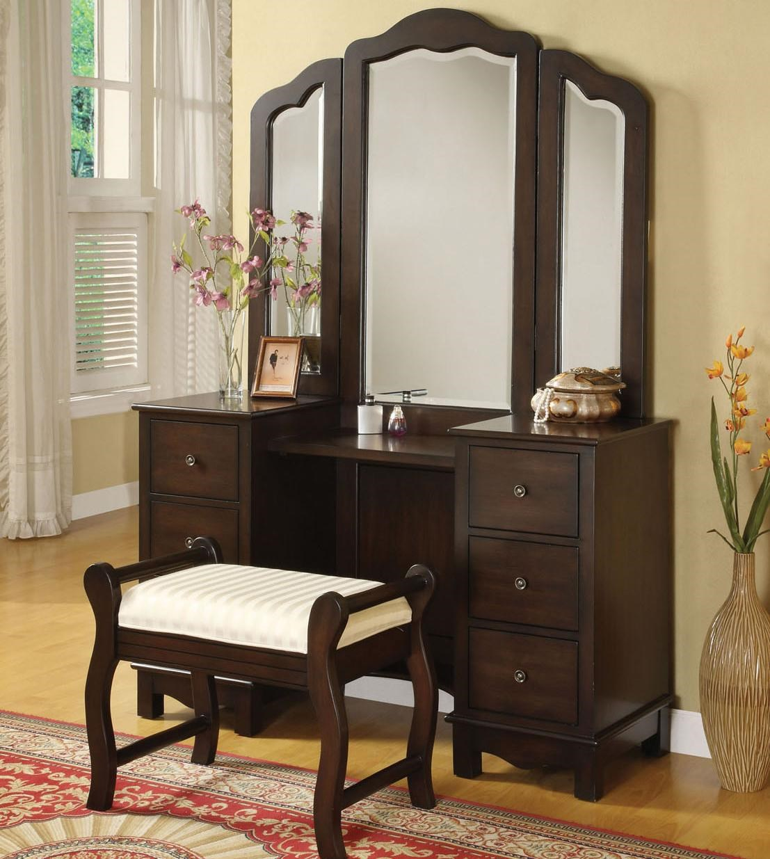 Incroyable Acme Furniture Annapolis Vanity Set With Upholstered Stool