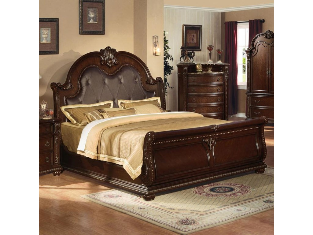 Anondale Traditional King Sleigh Bed W Bonded Leather Headboard By Del Sol Af At Furniture