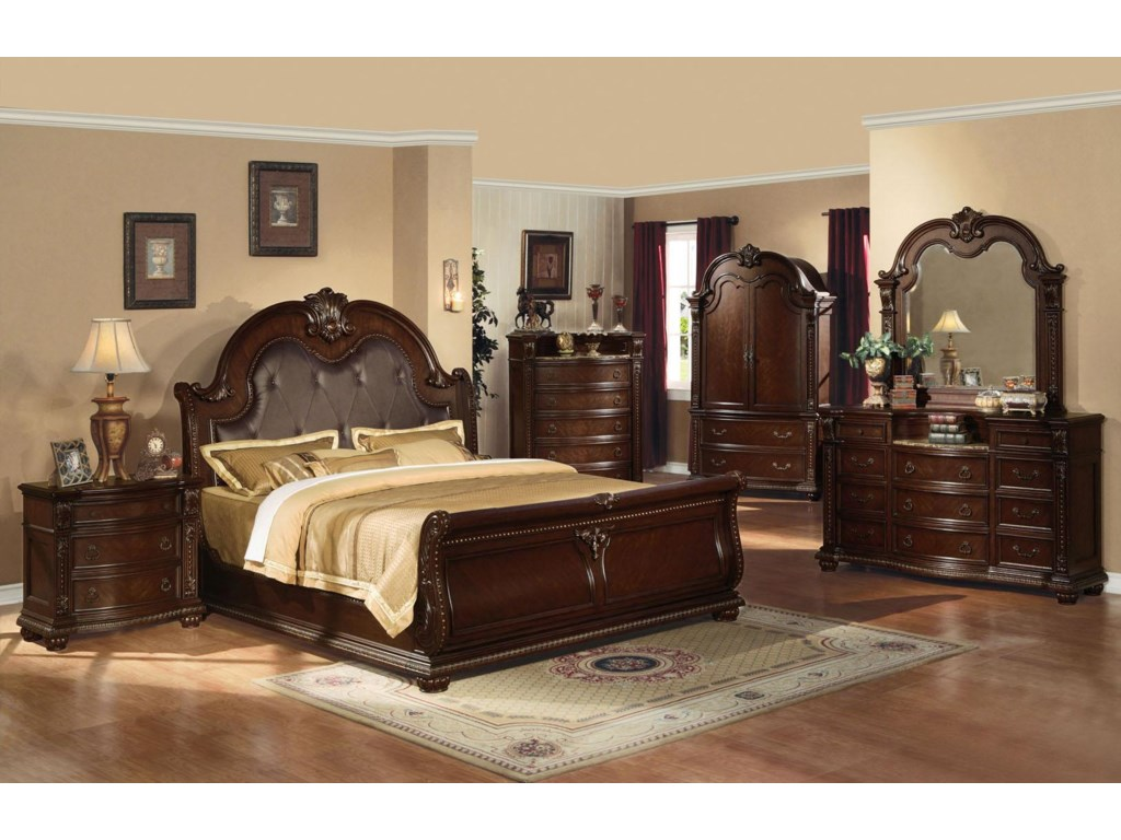Shown with Bed, Chest, Media Armoire, Dresser, and Mirror