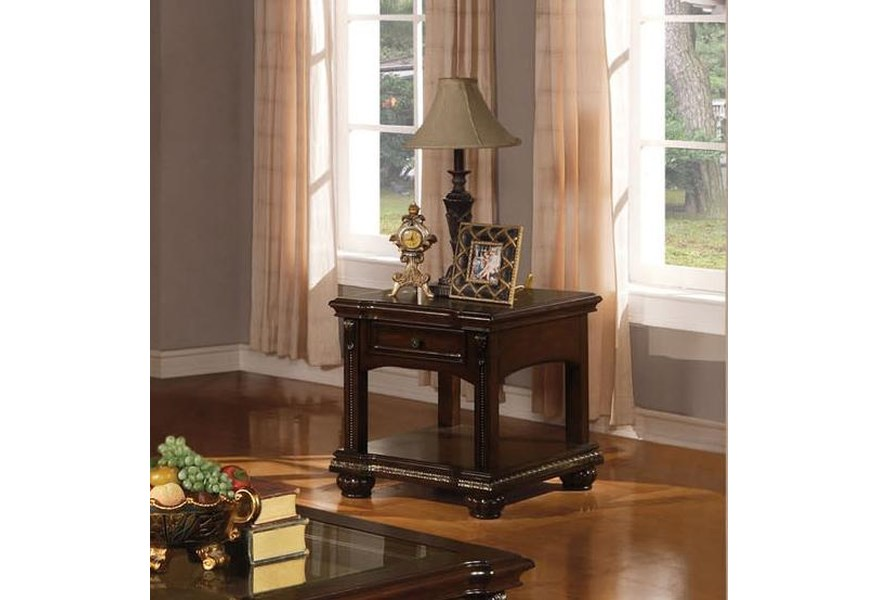 Acme Furniture Anondale 10323 Traditional End Table W Glass Nassau Furniture And Mattress End Tables
