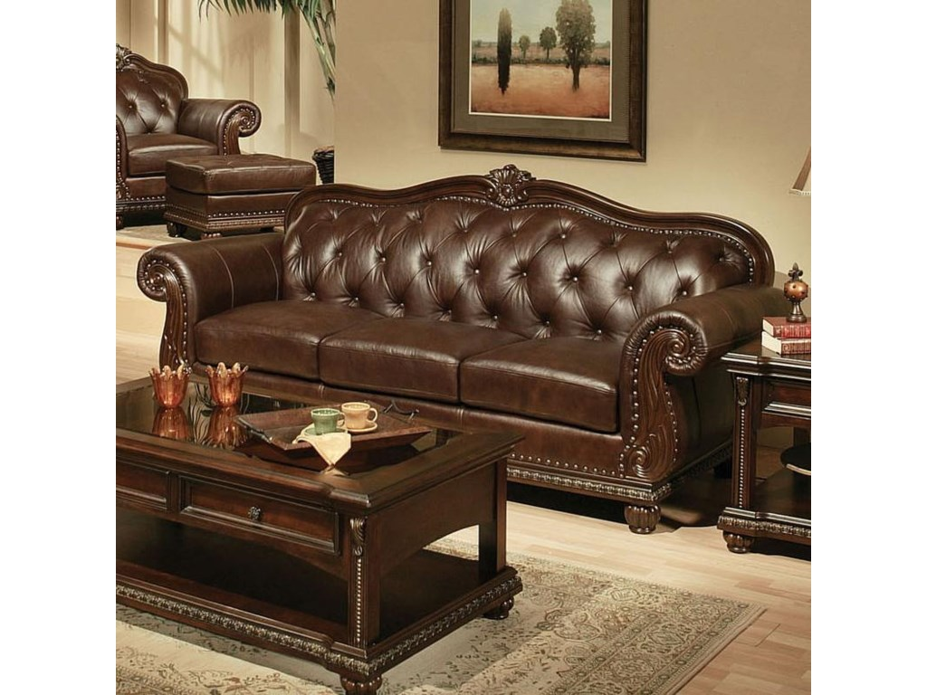 Acme Furniture Anondale Traditional Cherry Top Grain Leather ...