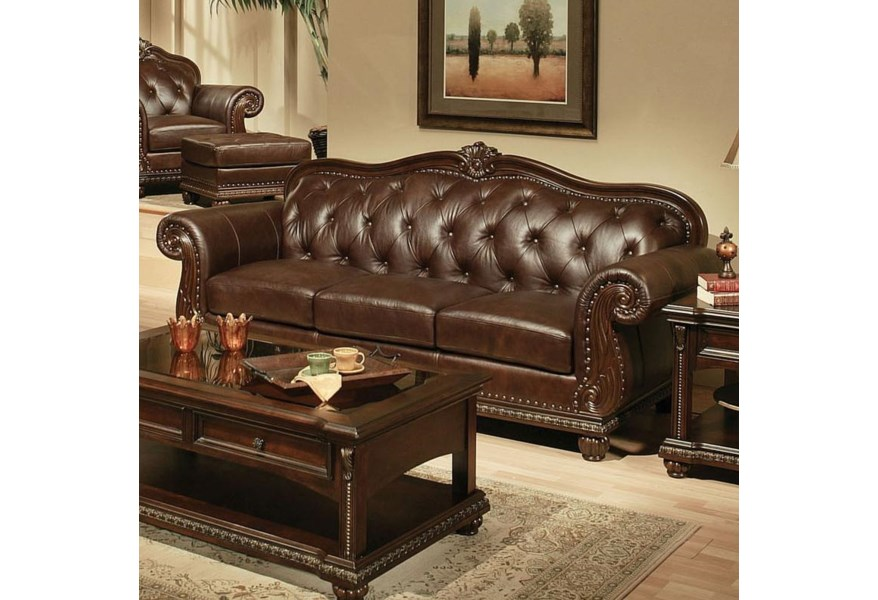 Anondale Traditional Cherry Top Grain Leather Stationary Sofa by Acme  Furniture at Dream Home Interiors