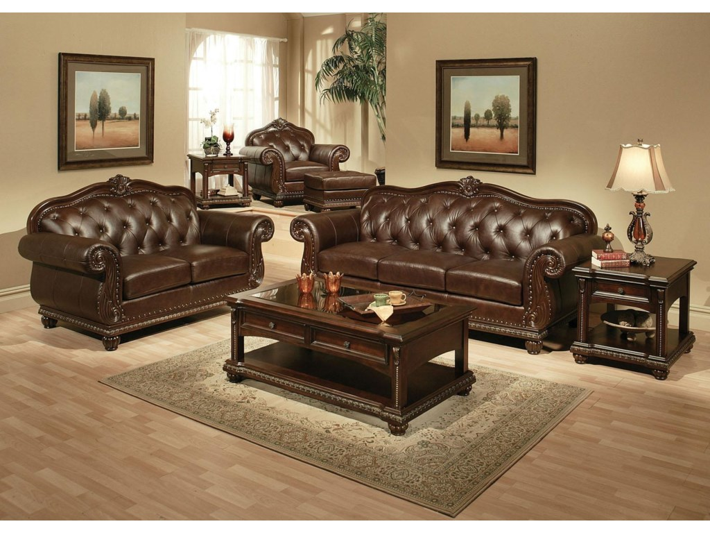 Home Living Room Furniture Sofas Acme Furniture Anondale Cherry Top Grain  Leather Sofa. Shown with Loveseat, Chair, and Ottoman - Acme Furniture Anondale Traditional Cherry Top Grain Leather