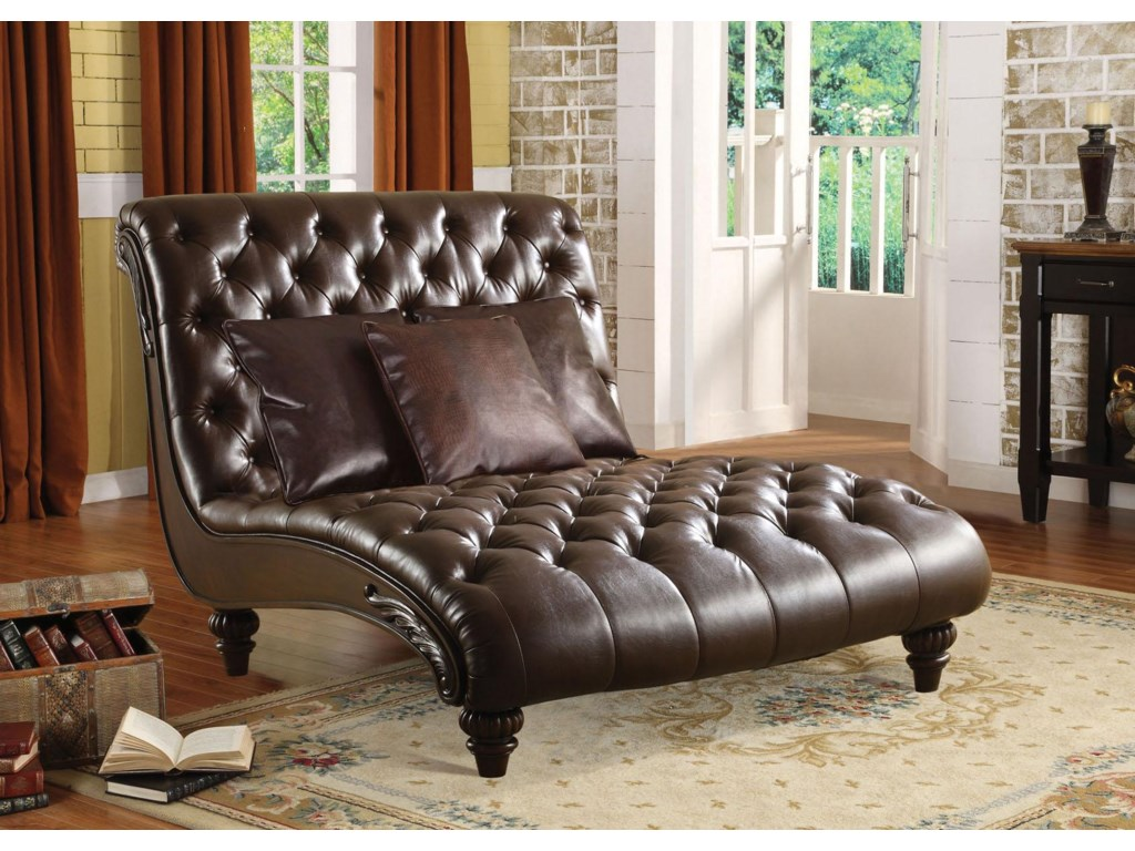 Acme Furniture Anondale Traditional Tufted Chaise Lounge W 3 Pillows