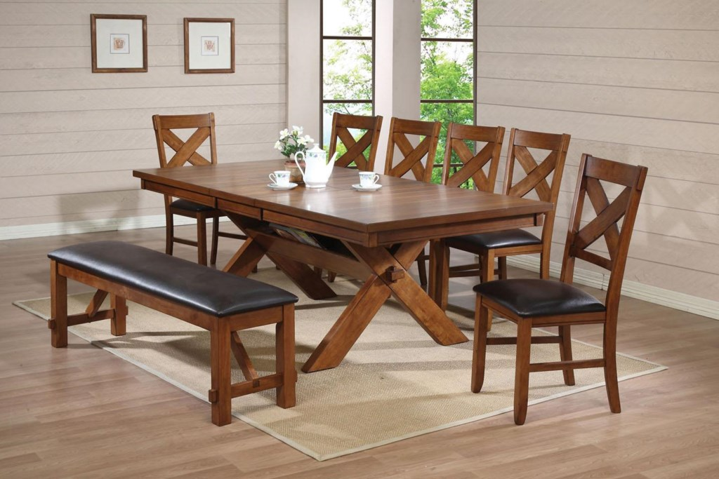 Acme Furniture Apollo Standard Height Dining Set with Trestle