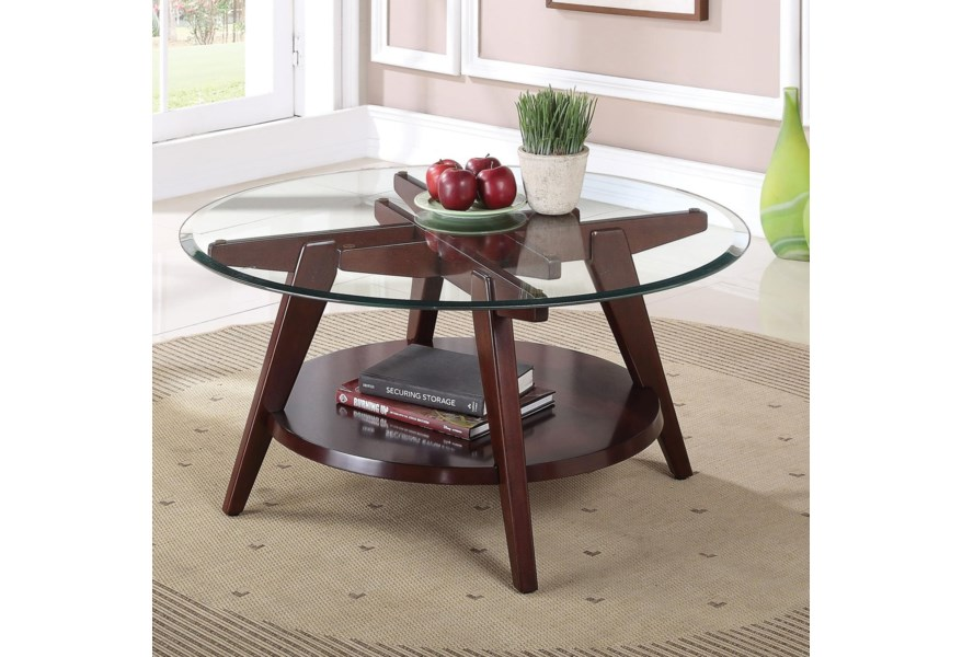 Acme Furniture Ardis Contemporary Round Coffee Table With Glass Top Dream Home Interiors Cocktail Coffee Tables