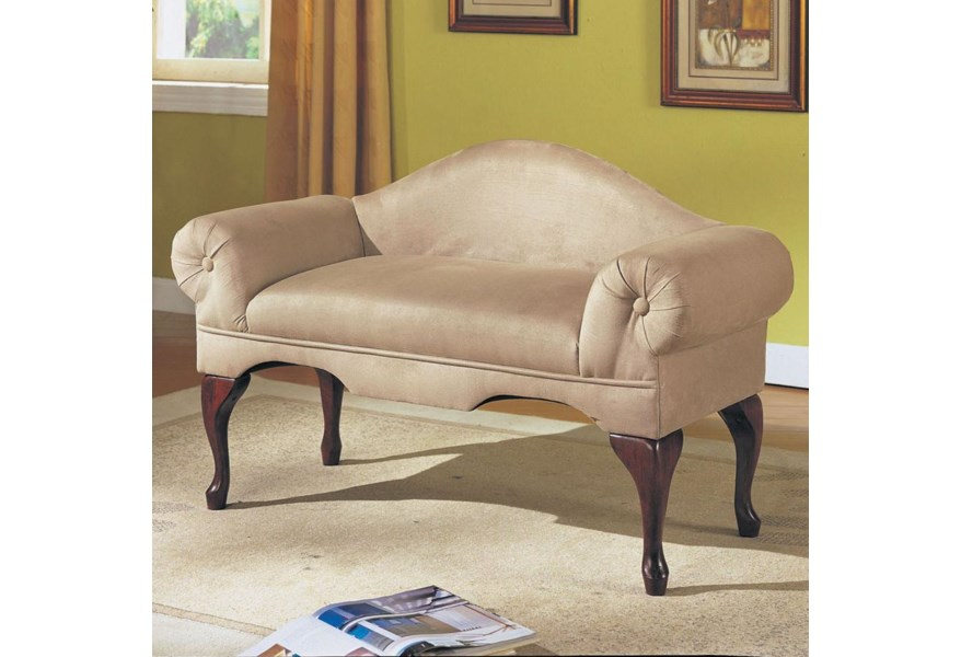 Acme Furniture Aston Traditional Rolled Arm Bench With Shapely Seat Back Rooms For Less Upholstered Benches