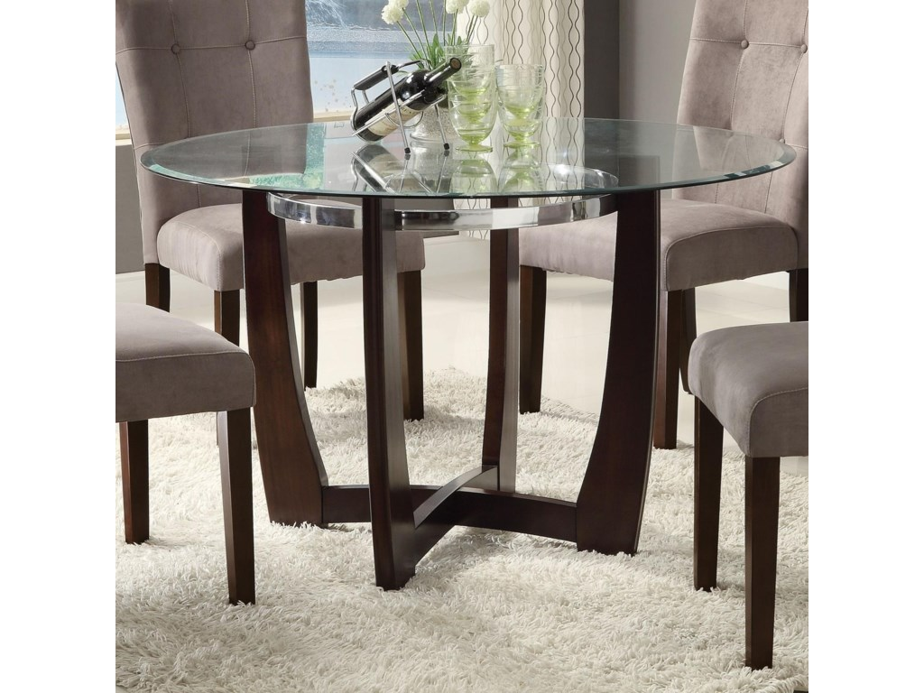 Acme Furniture Baldwin 48 Round Dining Table With Gl Top