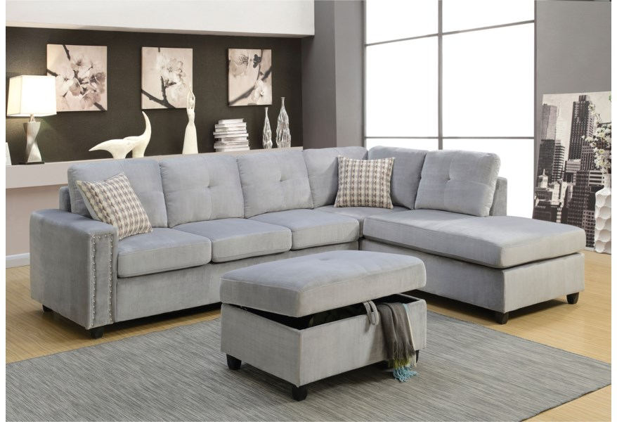 Acme Furniture Belville Sectional Sofa w/Pillows   Rooms for Less   Sectional Sofas