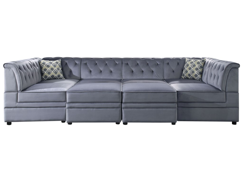 Acme Furniture Bois II 4-Seat Tufted Sectional Sofa with ...
