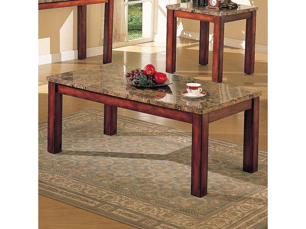 Acme Furniture Bologna Brown Marble Coffee Table With Wood Block