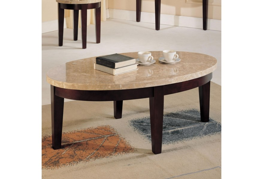 Oval White Marble Top Coffee
