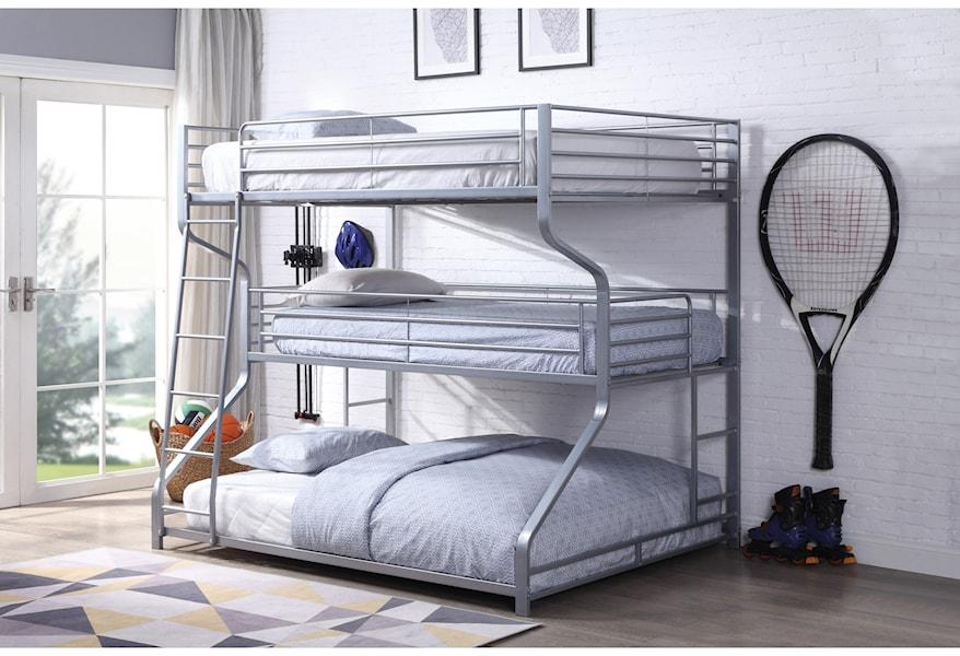 Acme Furniture Caius Ii 37790 Metal Triple Bunk Bed Twin Full Queen Del Sol Furniture Bunk Beds