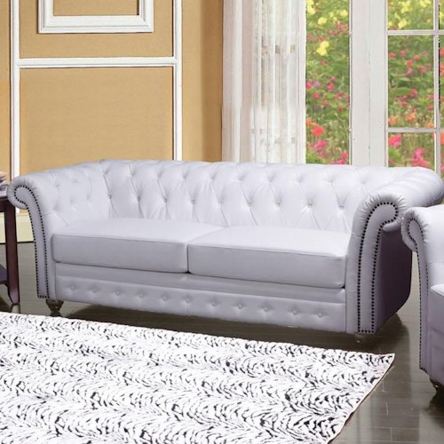 acme furniture camden traditional tufted sofa with rolled back and