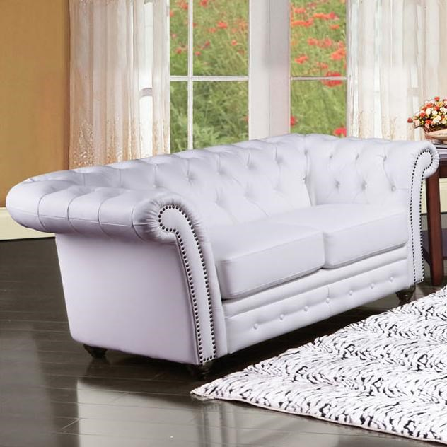 Acme Furniture Camden Traditional Tufted Loveseat With Rolled Back And  Nailhead Trim