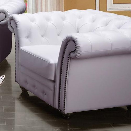 Acme Furniture Camden Traditional Tufted Chair with Rolled Back and Nailhead Trim