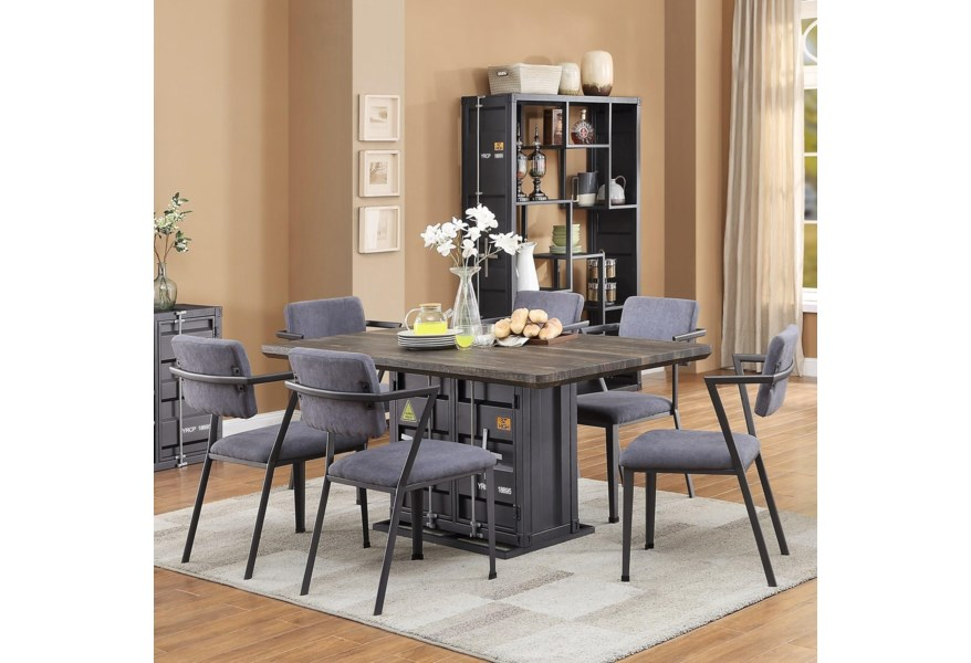 Acme Furniture Cargo 77900 6x77902 7 Piece Table Set Corner Furniture Dining 7 Or More Piece Sets