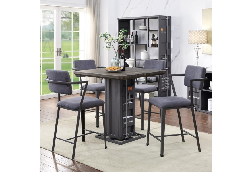 Acme Furniture Cargo 77905 4x77907 5 Piece Counter Table Set Del Sol Furniture Pub Table And Stool Sets