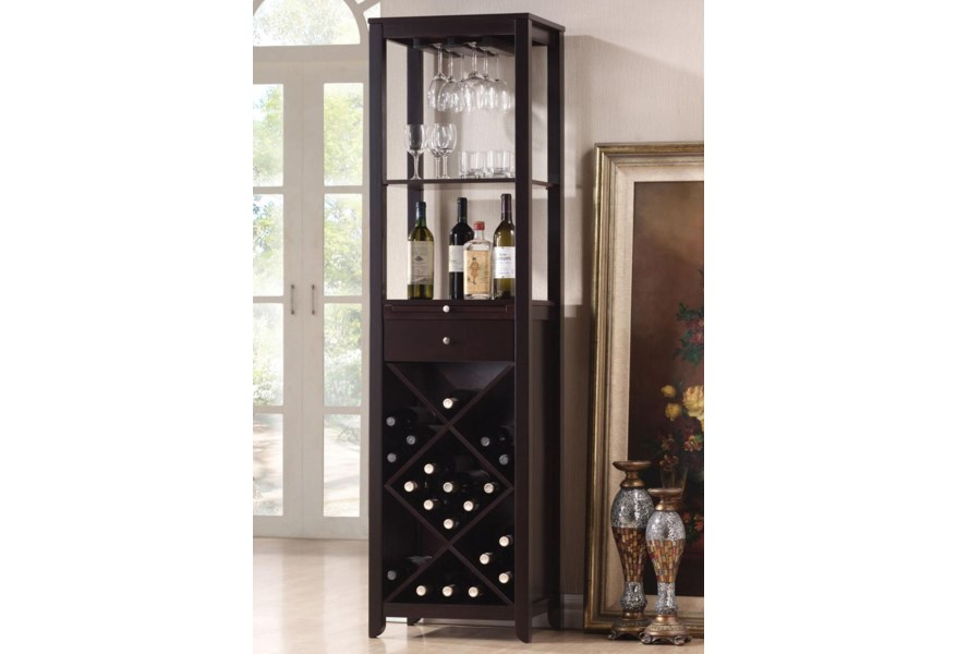 Acme Furniture Casey Wine Cabinet Tower With 2 Shelves Dream