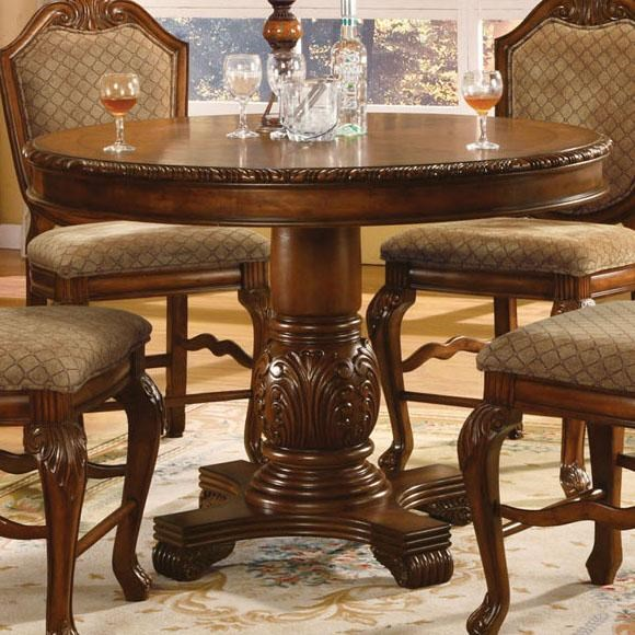 Acme Furniture Chateau De Ville Round Top Counter Height Table With Carved  Pedestal Base   Household Furniture   Pub Tables