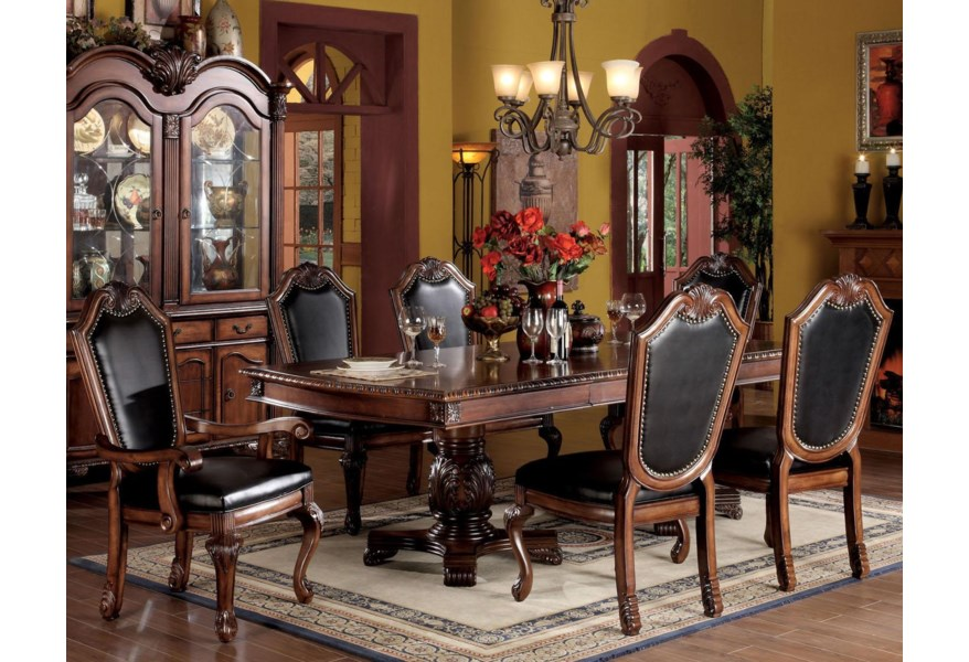 Acme Furniture Chateau De Ville 7 Piece Formal Dining Set With Faux Leather Upholstered Chairs Rooms For Less Dining 7 Or More Piece Sets