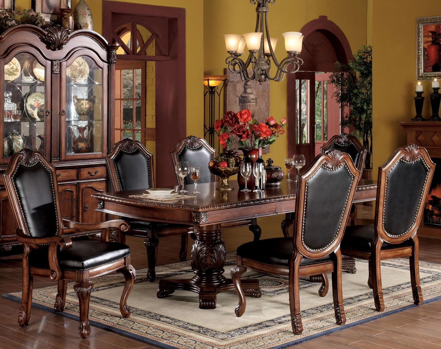 Acme Furniture Chateau De Ville 7 Piece Formal Dining Set With Faux Leather  Upholstered Chairs