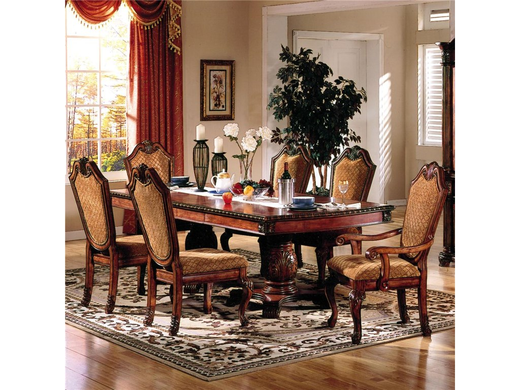 Acme Furniture Cau De Ville 7 Piece Formal Dining Set With Fabric Upholstered Chairs Beck S Or More Sets