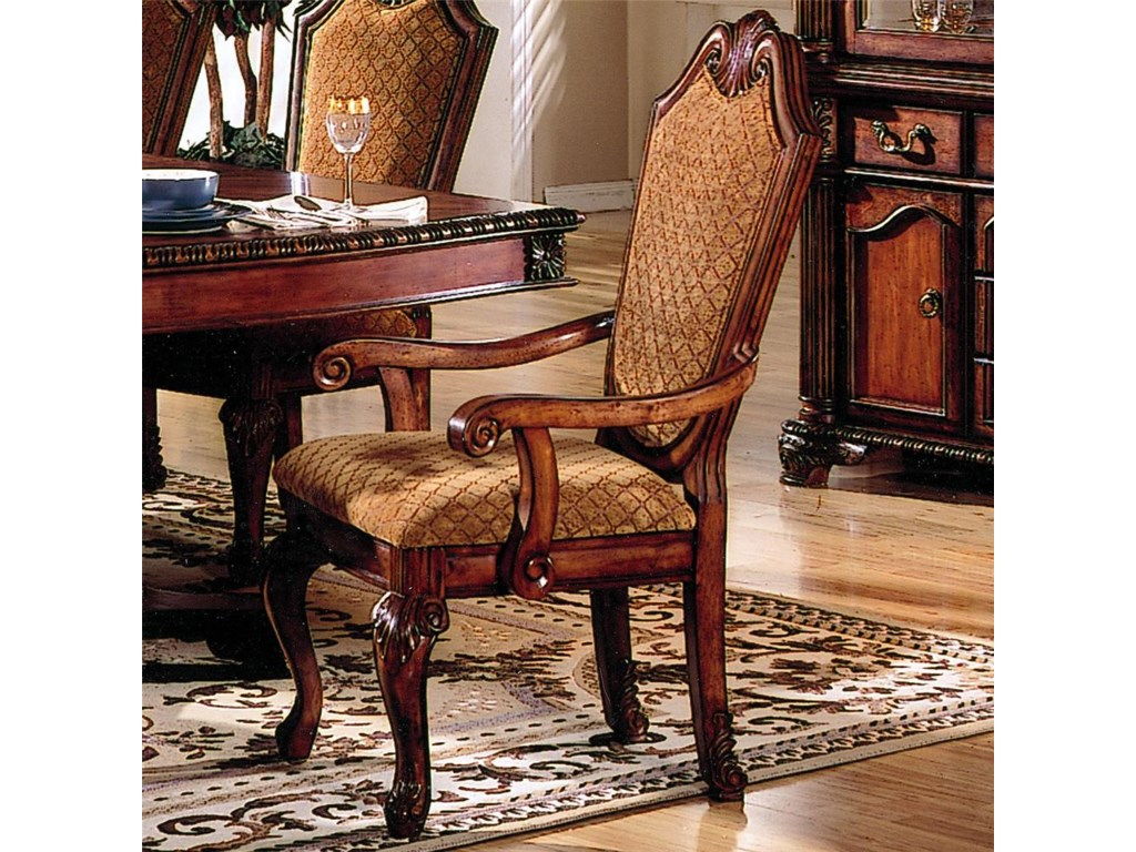 Chateau De Ville Shield Back Dining Arm Chair With Fabric Seat And Back by  Acme Furniture at Dream Home Interiors
