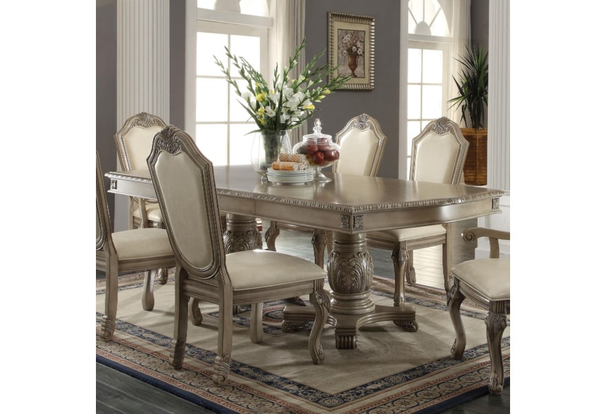 Acme Furniture Chateau De Ville Rectangle Double Pedestal Dining Table With Leaves A1 Furniture Mattress Dining Tables