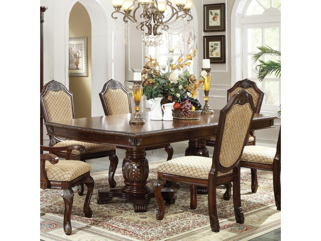 Chateau De Ville Rectangle Double Pedestal Dining Table With Leaves by Acme  Furniture at Dream Home Interiors