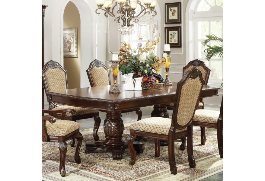 Acme Furniture Chateau De Ville 64075 Kit Rectangle Double Pedestal Dining Table With Leaves Corner Furniture Dining Tables