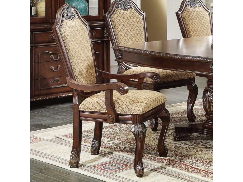 Acme Furniture Chateau De Ville Shield Back Dining Arm Chair With Fabric Seat And