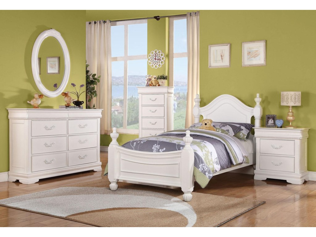 Shown with Dresser, Mirror, Bed, and Nightstand