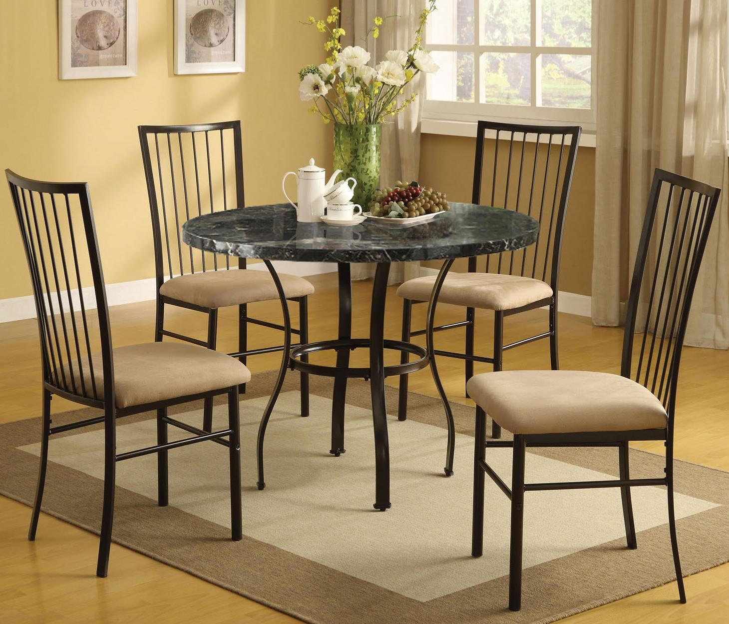 Acme Furniture Darell 5 Piece Faux Marble Dining Set With Upholstered Seats