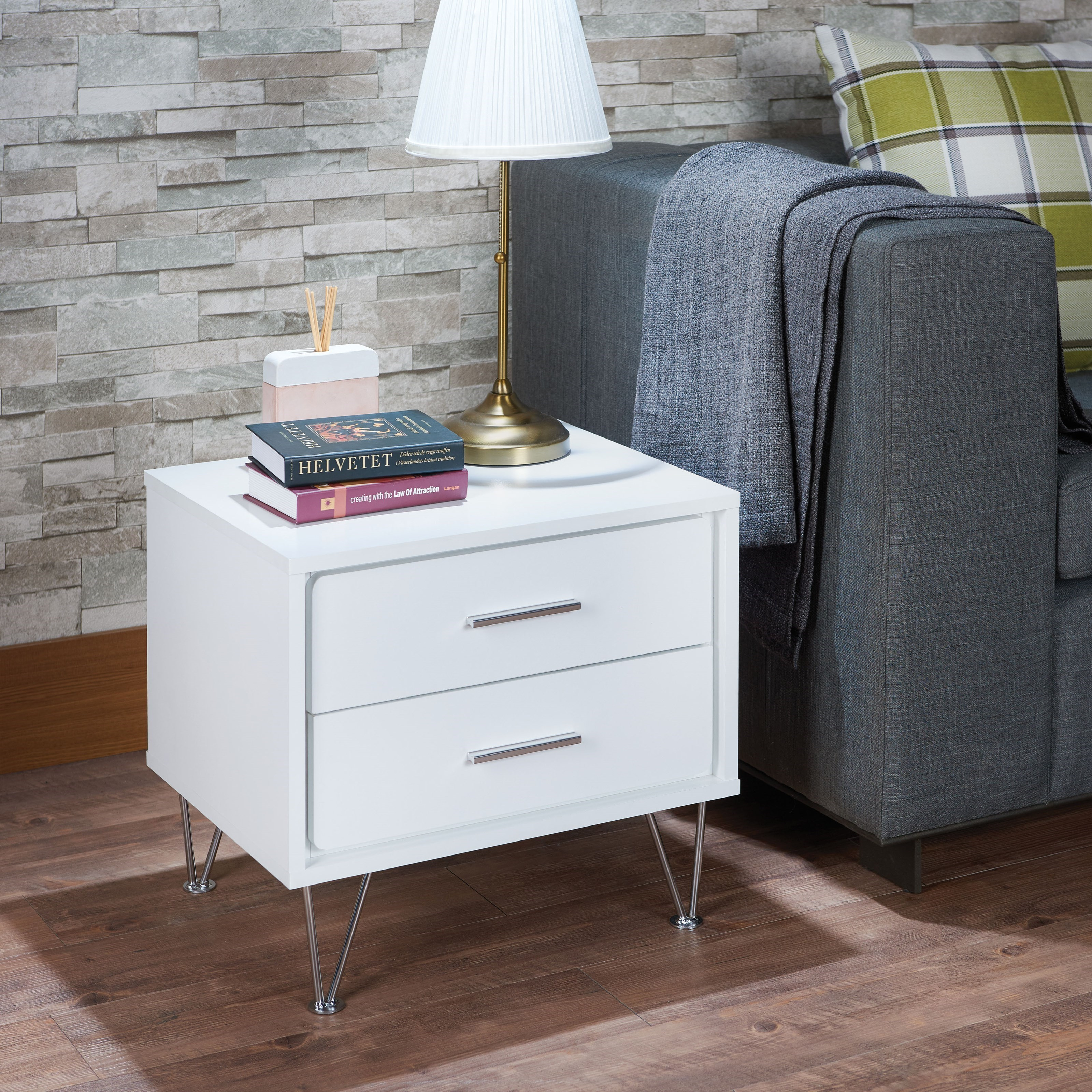 Acme Furniture Deoss Contemporary Nightstand With Metal Legs