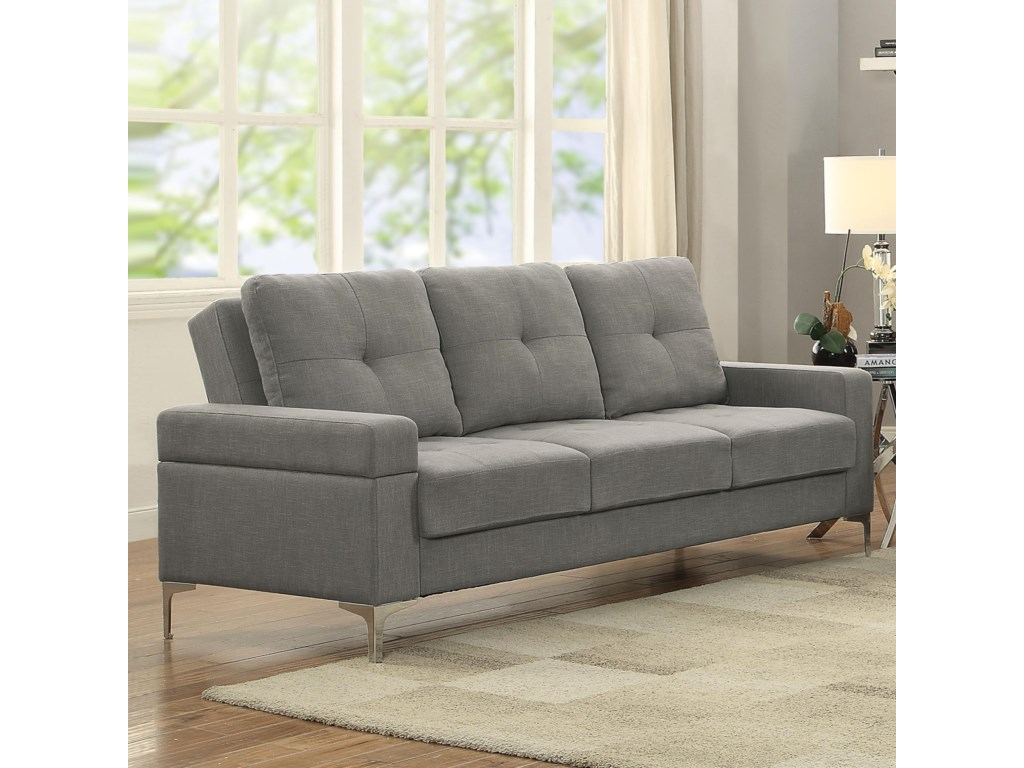 Acme Furniture Dorian Contemporary Sofa Bed with Chrome Legs ...