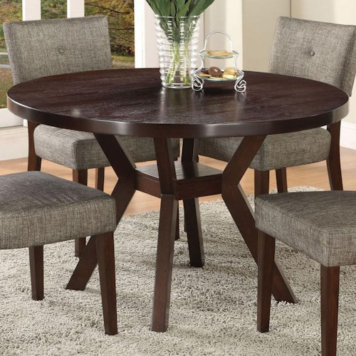 Acme Furniture Drake Espresso Modern Dining Table with Round Top and Splayed Leg Base