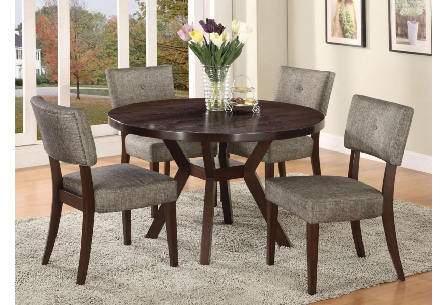 Acme Furniture Drake Espresso 16250 Modern Dining Table With Round Top And Splayed Leg Base Corner Furniture Kitchen Table