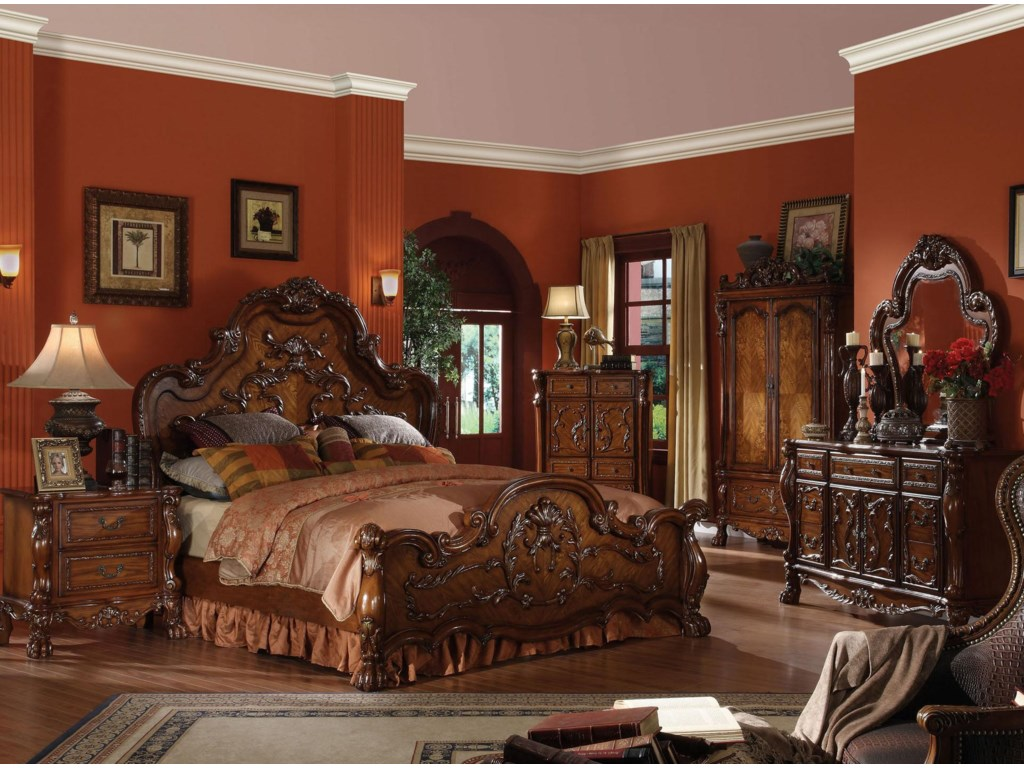 Shown in Room Setting with Bed, Chest, Armoire, Dresser and Mirror