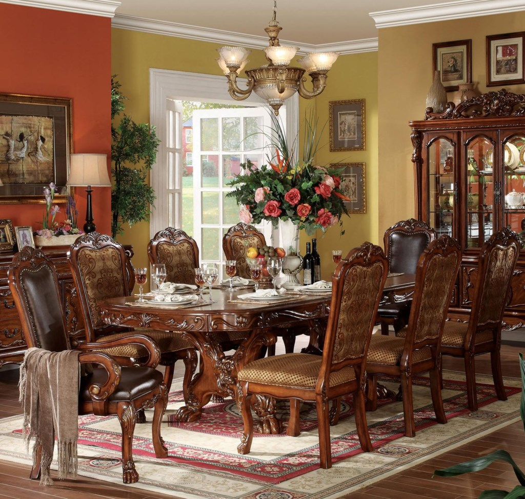 acme furniture dresden 9 piece dining table and chair set del