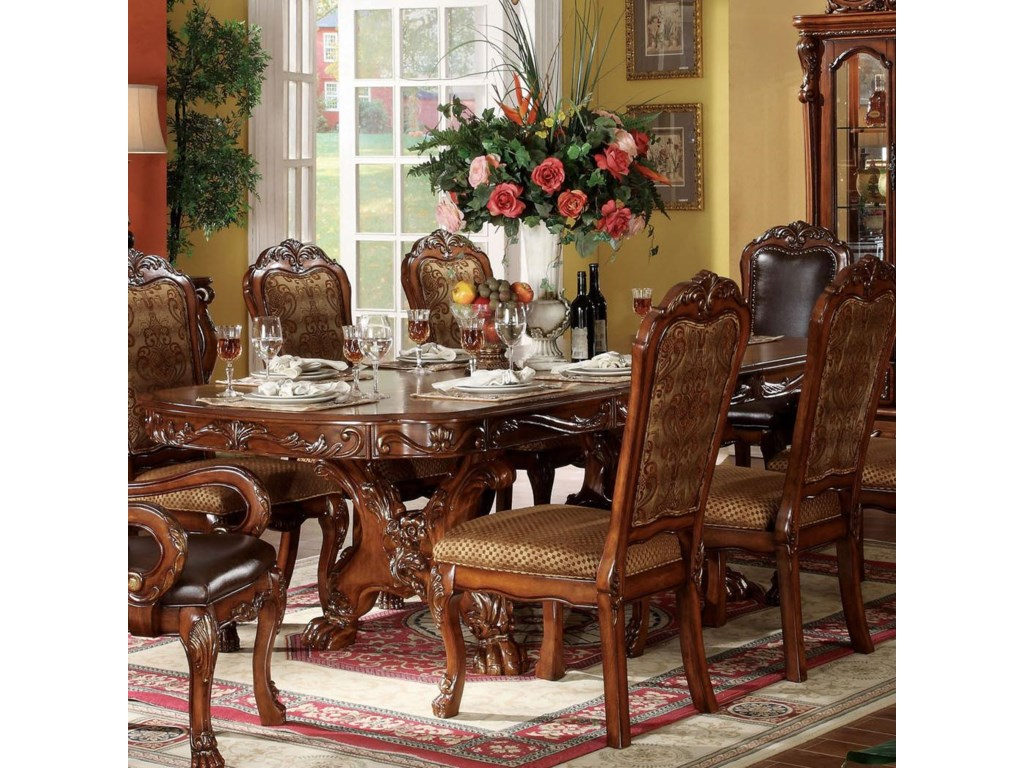 Acme Furniture Dresden Oval Dining Table W Extension Leaves