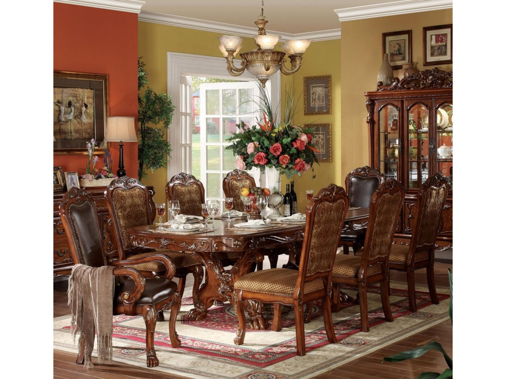Furniture Dresden Dining Table Shown With Side And Arm Chairs