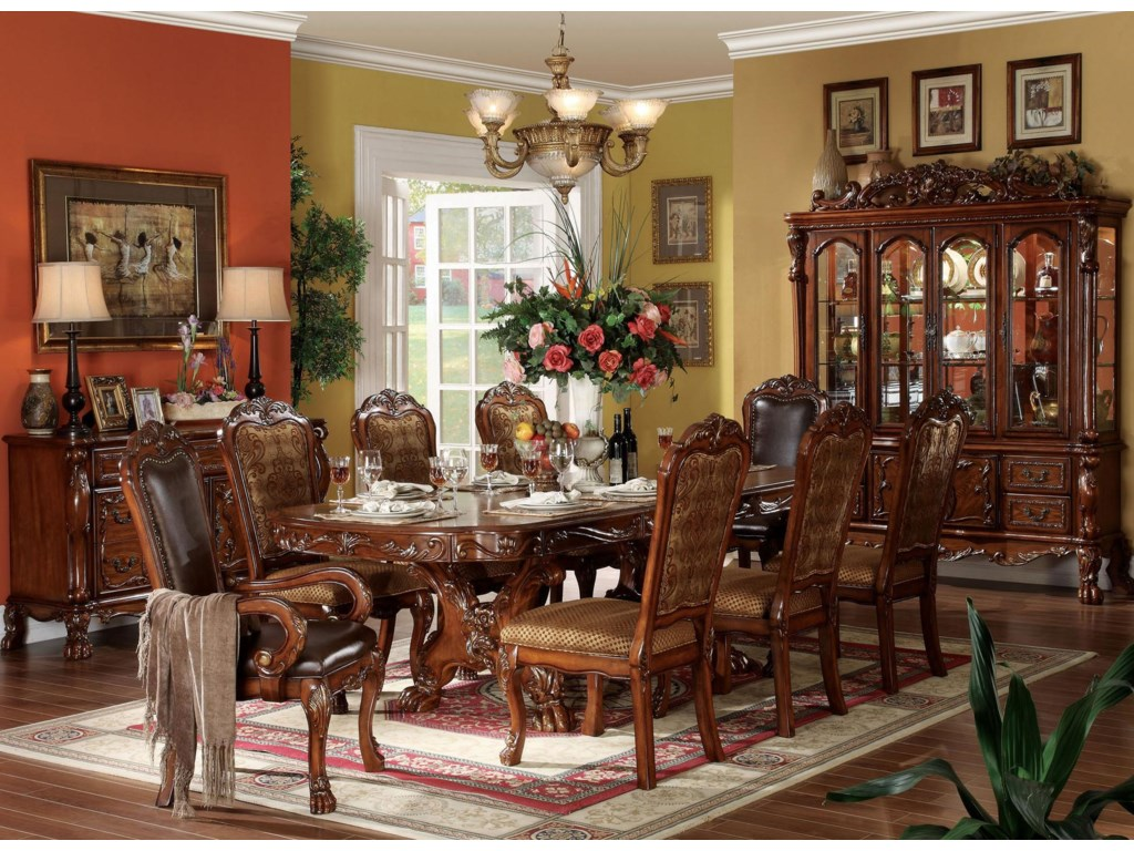 Shown in Room Setting with Table, Side Chairs and Arm Chairs and Sideboard