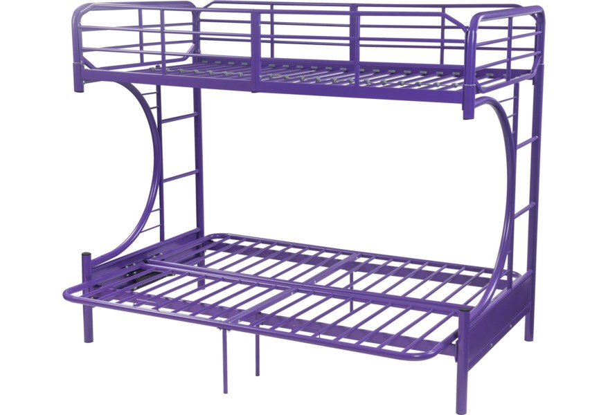 Acme Furniture Eclipse 02081pu Kid S Twin Over Full Bunk Bed With Futon Option Del Sol Furniture Bunk Beds