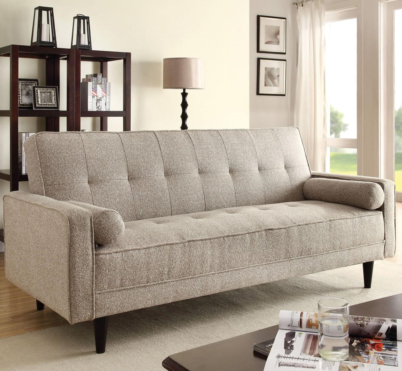 Acme Furniture Edana Sand Linen Adjustable Sofa With 2 Pillows