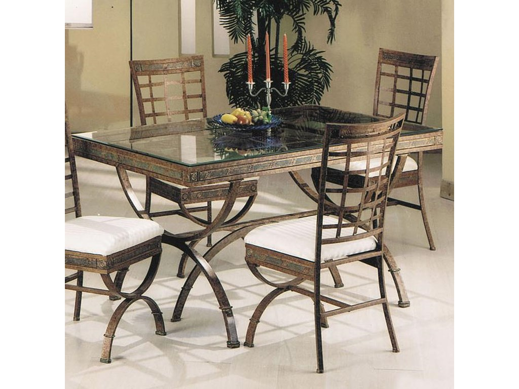 Egyptian Rectangular Dining Table with Glass Table Top by Acme Furniture at  Nassau Furniture and Mattress