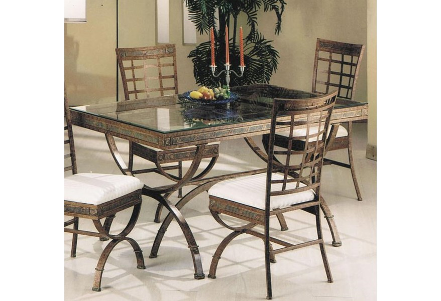 Acme Furniture Egyptian 08630 Rectangular Dining Table With Glass Table Top Del Sol Furniture Dining Tables