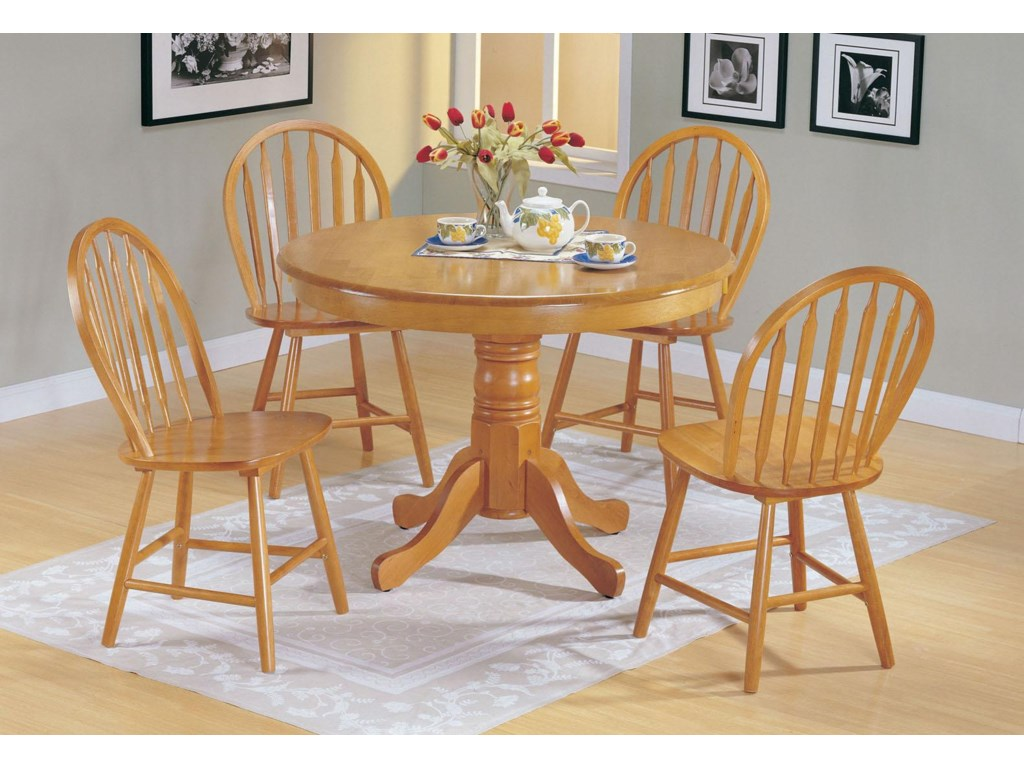 Acme Furniture Farmhouseoak 5 Piece Round Dining Set